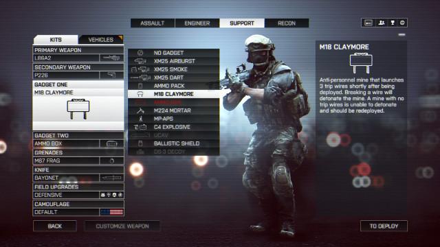 Capture d'écran de l'écran de Customisation dans Battlefield 4