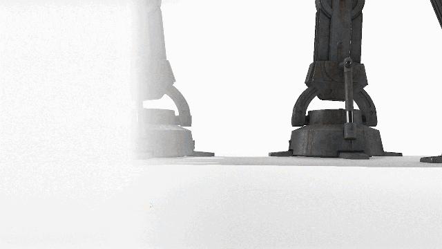 Capture d'écran avec deux pieds d'un AT-AT de Star Wars, gauche de l'écran fondue au blanc