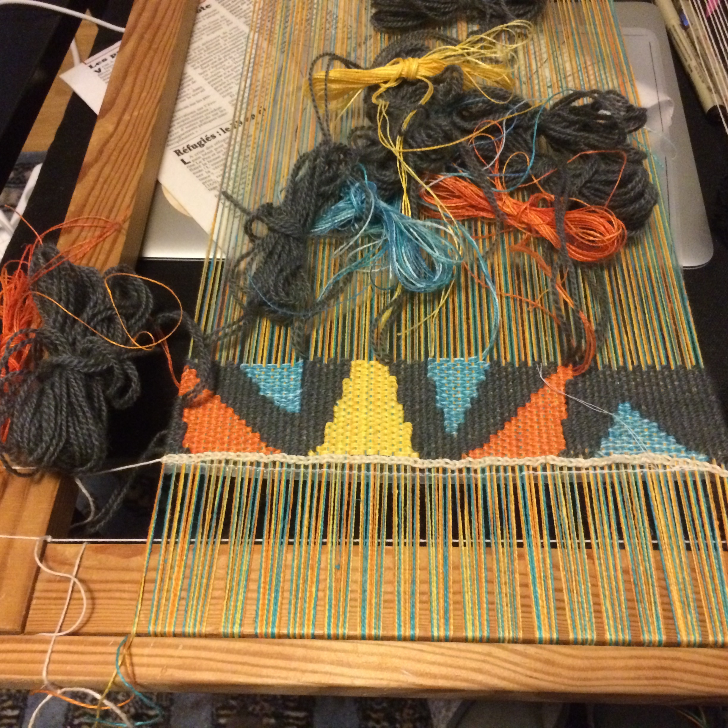 Frame loom with tapestry