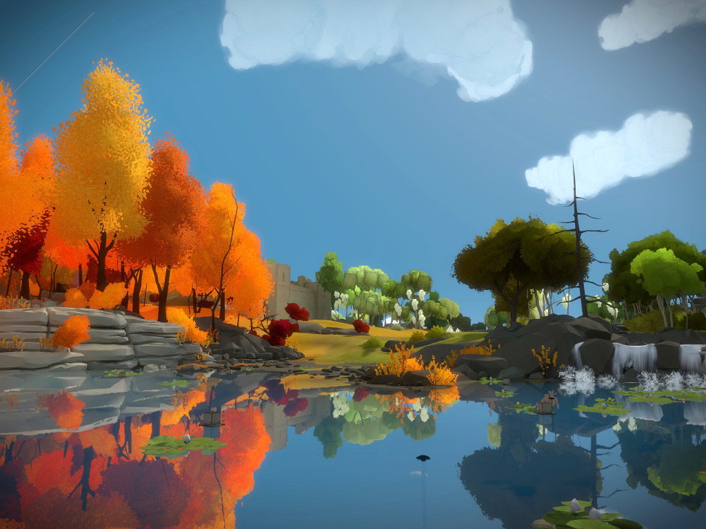 The Witness iPad Pro screenshot, showing the riverside. Orange trees on the left and green trees on the right are partially hiding a medieval castle in the background.